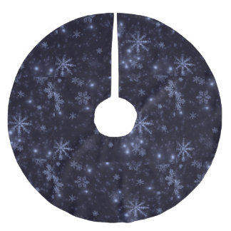 Snowflakes and Midnight Blue Background Tree Skirt Brushed Polyester Tree Skirt
