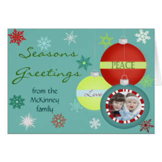 Snowflakes and Ornaments Photo Frame Card