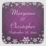 Snowflakes and Purple Damask Wedding Square Sticker