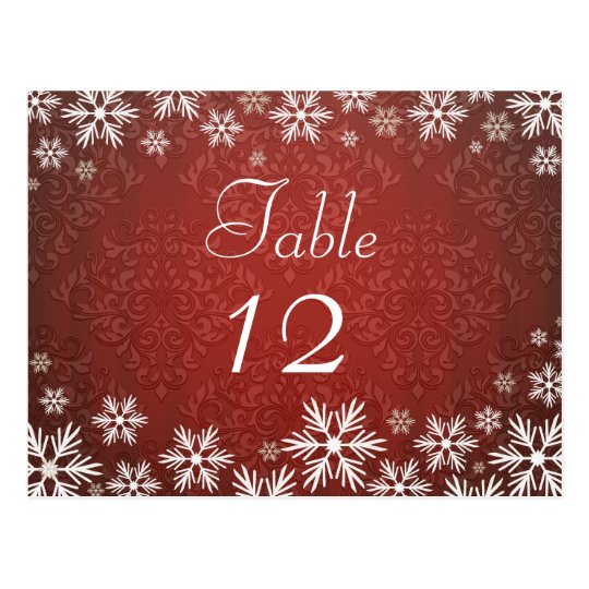 Snowflakes and Red Damask Wedding Postcard