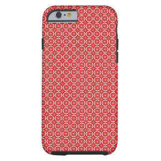 Snowflakes and scottie pattern with Red background Tough iPhone 6 Case