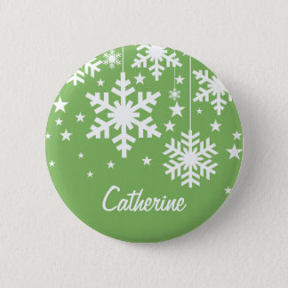 Snowflakes and Stars Button, Green 2 Inch Round Button