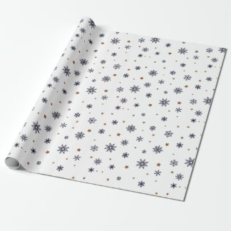 Snowflakes and Stars Christmas Wrapping Paper