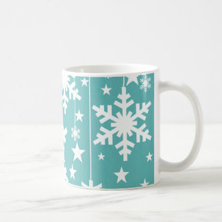 Snowflakes and Stars Mug, Aqua Coffee Mug