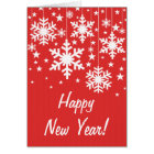 Snowflakes and Stars New Year's Card, Red Card