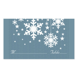 Snowflakes and Stars Place Card, Blue Business Card