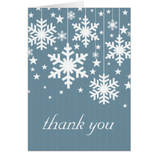 Snowflakes and Stars Thank You Card, Blue Note Card