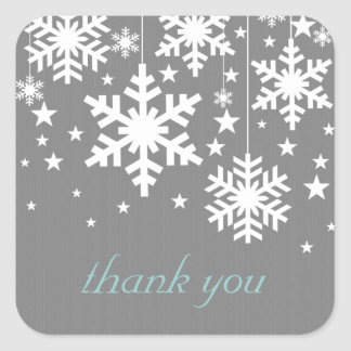 Snowflakes and Stars Thank You Stickers, Grey Square Sticker