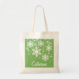 Snowflakes and Stars Tote Bag, Green