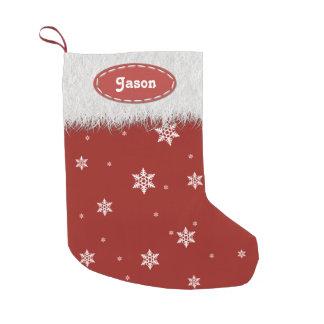 Snowflakes and White Fur - Christmas Stockings Small Christmas Stocking