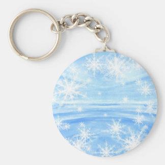 Snowflakes Basic Round Button Keychain