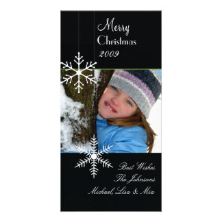 Snowflakes ~ black and white christmas, green trim customized photo card