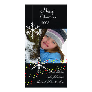 Snowflakes ~ black and white christmas photo card