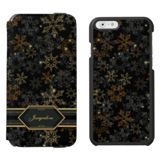 Snowflakes Black Damask Elegant Pattern Incipio Watson™ iPhone 6 Wallet Case