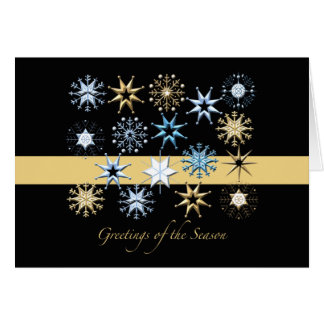 Snowflakes Black Folded - Holiday Card