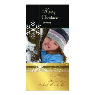 Snowflakes ~ black, gold tone christmas photo cards