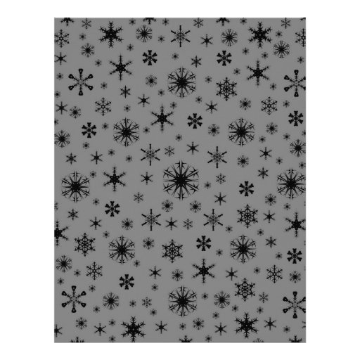 Snowflakes – Black on Gray Letterhead Template