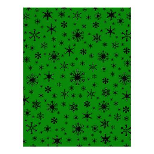 Snowflakes – Black on Green Customized Letterhead