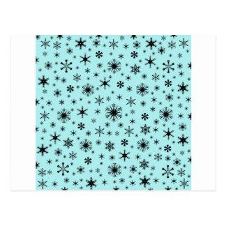 Snowflakes – Black on Pale Blue Postcards