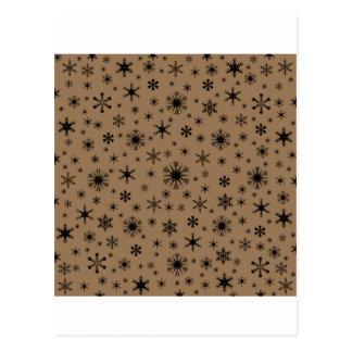 Snowflakes – Black on Pale Brown Post Cards