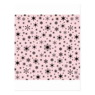Snowflakes – Black on Pale Pink Postcard
