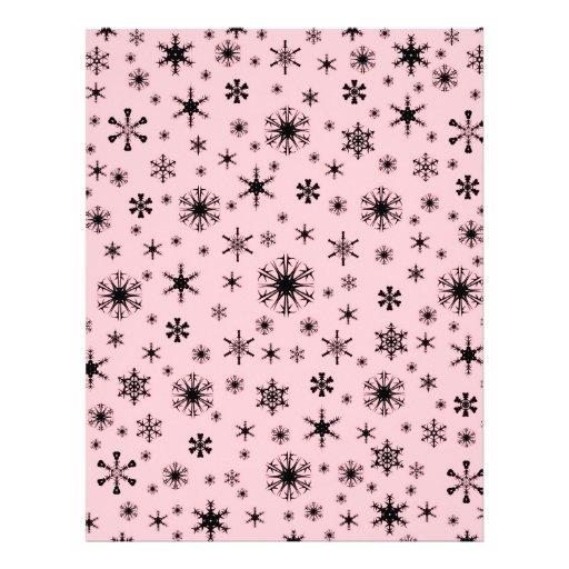 Snowflakes – Black on Pink Letterhead Template