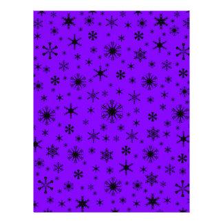 Snowflakes – Black on Violet Custom Letterhead