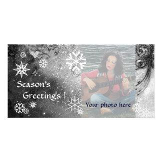 SNOWFLAKES ,black ,white,grey Card