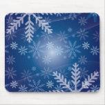 Snowflakes Blue Background Mousepad