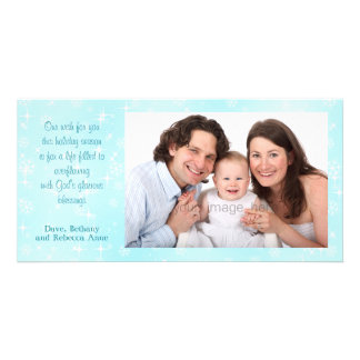 Snowflakes Blue Blessings Christmas Photo Cards
