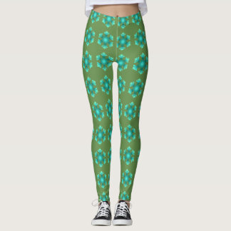Snowflakes Blue Green Leggings