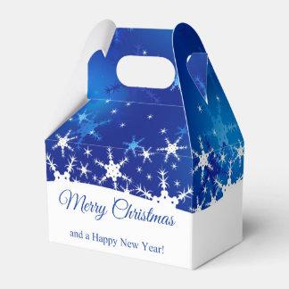 Snowflakes Blue Merry Christmas Gable Favor Box