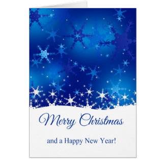 Snowflakes Blue Merry Christmas - Greeting Card