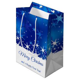 Snowflakes Blue Merry Christmas - Medium Gift Bag