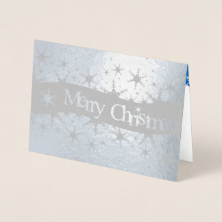 Snowflakes Blue Merry Christmas - Silver Foil Card