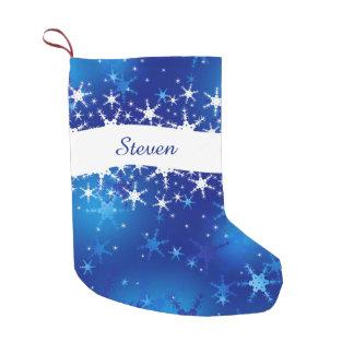 Snowflakes Blue Merry Christmas - Stocking Small Christmas Stocking