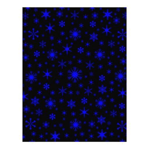 Snowflakes – Blue on Black Custom Letterhead