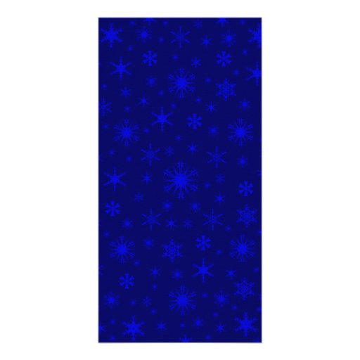 Snowflakes - Blue on Dark Blue Customized Photo Card