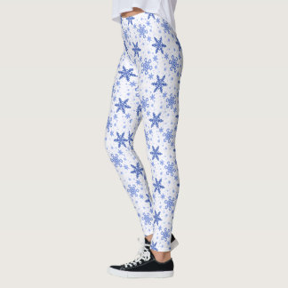 Snowflakes Blue on White Leggings