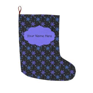Snowflakes Blue Purple on Black Large Christmas Stocking