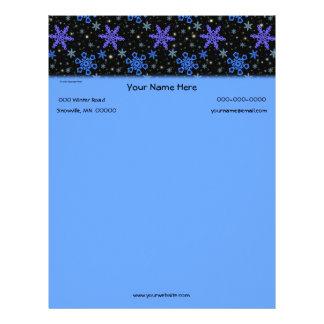 Snowflakes Blue Purple on Black Letterhead Template