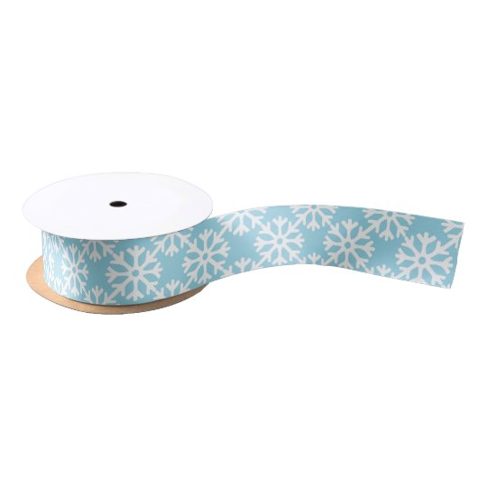 Snowflakes Blue Satin Ribbon