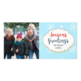 Snowflakes Blue Seasons Greetings Photo Card