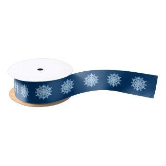 Snowflakes Blue White Winter Natural Beauty Ribbon Satin Ribbon
