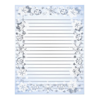 Snowflakes Border Heavy Lined Writing Paper