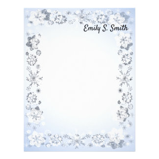 Snowflakes Border Personalized Writing Paper
