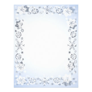 Snowflakes Border Unlined Writing Paper