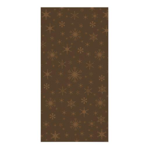 Snowflakes - Brown on Dark Brown Photo Card