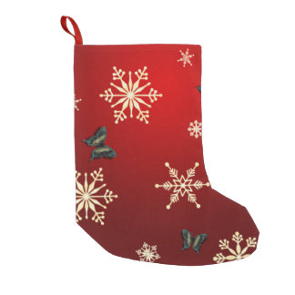 Snowflakes & Butterflies Stocking Small Christmas Stocking