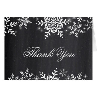 Snowflakes Chalkboard Baby Shower Thank You Card